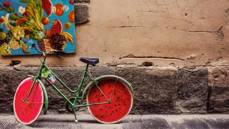 Photo of a bike with watermelon slices for wheels