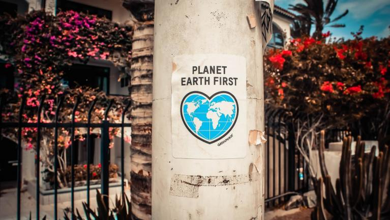 "Photo of ""Planet Earth First"" poster"