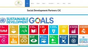Screenshot of the home page with UN development goals image